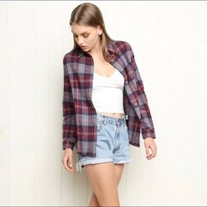 Brandy Melville Maroon and Gray Flannel Button Up